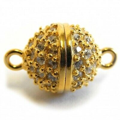 Magnetic Round Ball Clasp Silver (Gold Plated) with Zirconias - FC4501