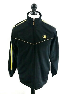 CHAMPION Mens Tracksuit Top Track Jacket S Small Black Polyester