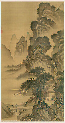 Chinese scroll painting Scholar & disciple living in mountain by Dai Jin in Ming