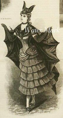 Halloween Victorian Bat Girl*Quilt Art Fabric Block*5X7 Inches*Great One