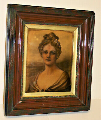 Antique Victorian Reverse Painting On Glass Lady Portrait in Wooden Frame 16""