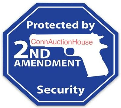 """/""""PROTECTED BY .357 MAGNUM/"""" gun rights WARNING STICKER sign home security NRA new"""