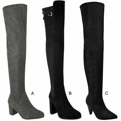 Womens Ladies Thigh High Boots Over The Knee Block Heels Shoes Winter Size New