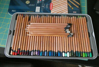72 derwent lightfast pencils in original tin plus extra 7 colours
