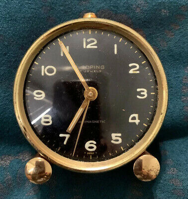 Looping 7 Jewels Alarm Clock Swiss Made For Parts Untested