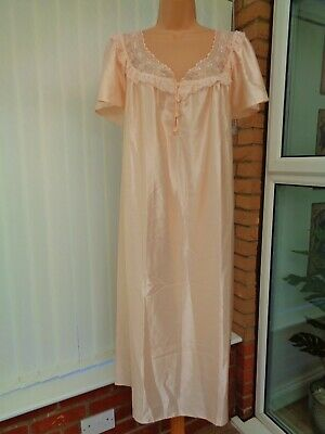 "G1Z Vtg St Michael M&S Peach Satin Lace Button Front Nightdress 20 22 48"" Exc"