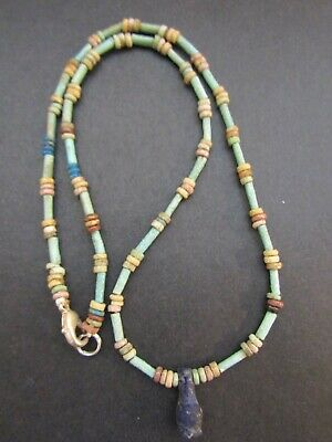 NILE  Ancient Egyptian Poppy Seed Amulet Mummy Bead Necklace ca 600