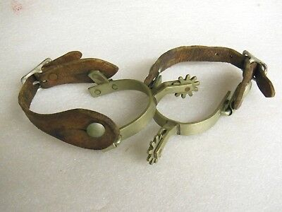 old Pair of DON RICARDO Nickel Silver Western Cowboy Spurs with Leather Straps