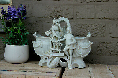 Antique French bisque porcelain planter jardiniere group romantic swans