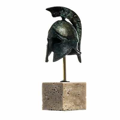 Spartan Helmet Ancient Greek Officer Bronze Museum Replica with base 5.3""