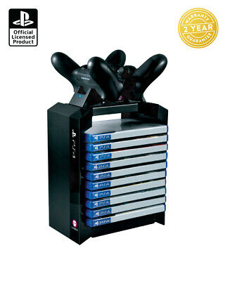 Official PlayStation Sony PS4 Games Storage Tower & Dual Controller Charger Dock