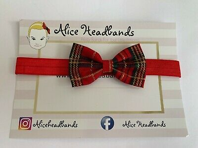Baby Headbands Girl Small Tartan 6 CM Red Bow Red Elastic Band Christmas Baby