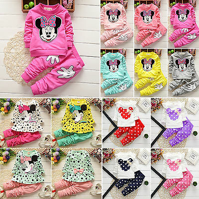 Toddler Kids Baby Girl Mickey Minnie Mouse Hooded Sweatshirt Top Pants Tracksuit
