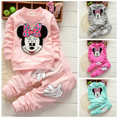 Toddler Kids Baby Girl Minnie Mouse Sweater Tops Pants Outfits Clothes Tracksuit