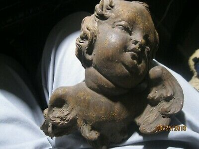 Vintage Hand Carved Wood Angel Putti Great Detail Hard Wood