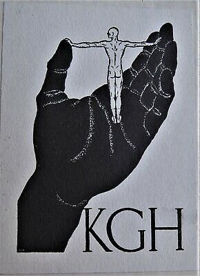 unusual bookplate of a black hand holding a naked man, with the initials KGH