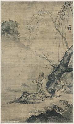 Chinese old scroll painting Scholar man taking a walk by willow tree embarkment