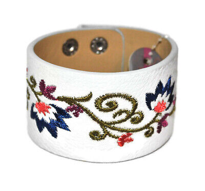 Girls & Pearls Faux Leather Adjustable Floral Embroidered Cuff Bracelet