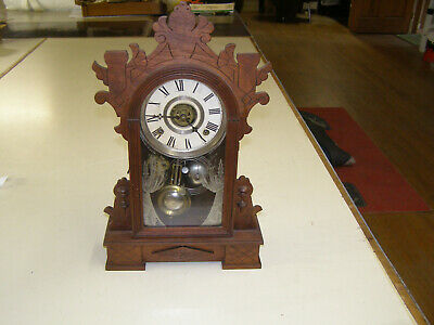 "Antique W. L. Gilbert ""Dio"" parlor clock 8 Day T&S movement with alarm. Runs."