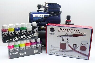 Paasche VL-Set Double Action Airbrush W/ Paasche D3000R Compressor+Paint Bottles