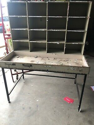 Workbench Work Bench Shed Tool Pigeon Hole Tools Garage Vintage Post Office