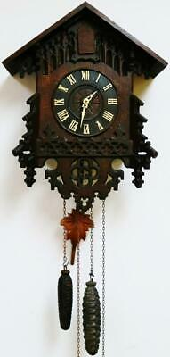 Antique German Black Forest Carved Cuckoo Wall Clock Twin Weight Driven Movement