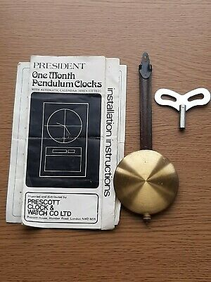 Vintage President One Month Pendulum Clock Parts Pendulum Key & Instructions