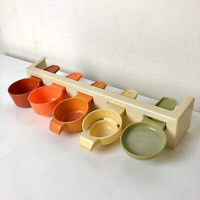 Vintage Rerto Red Orange Yellow Tupperware Measuring Spoons - With Stand