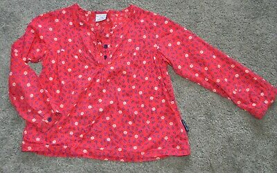 Polarn O. Pyret Girl Blouse Top Red Floral Cotton 3-4 Years