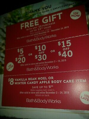 Bath & Body Works 3 Coupons Gift with Purchase~$5 off $20, $10/$30, $15/$40