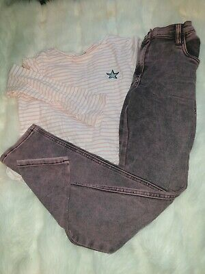 Girls 9-10 Years Top Jumper Striped Star Trousers Jeans Denim outfit Next Day