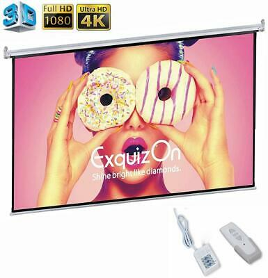 "100"" Projector Projection Screen 16:9 Wall Ceiling Electric Motorized Home Movie"