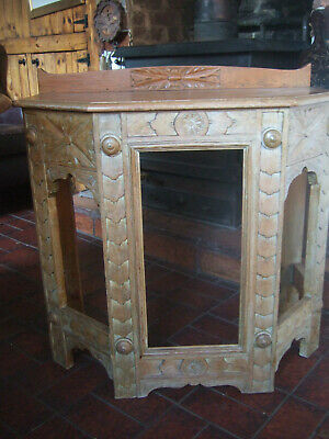 An Unusual  Antique Early 20Th Century Carved  Oak Hall Table