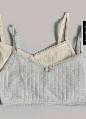 BNWT 2X Girls M&S Autograph Soft Cotton Crop Tops Age 15-16 Years.