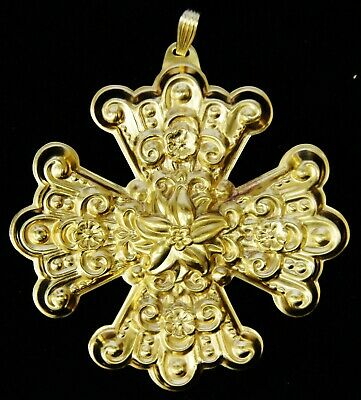 Reed & Barton Sterling Silver 1974 Gold Christmas Cross Ornament B1569