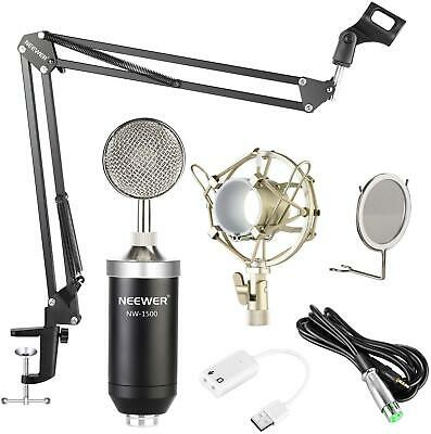 Professional Streaming Condenser Microphone Sound Card Shock Mount Scissor Arm