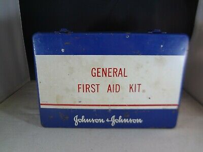 "Vintage Johnson & Johnson General First Aid Kit Blue Metal Box - 13"" x 9"" x 2.5"""
