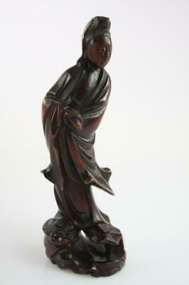 Vintage Chinese Hand Carved Red Cherry Wood Guanyin Figural