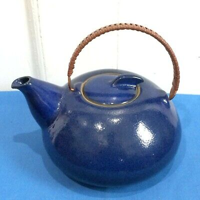 VTG Mid Century HEATH CA Ceramic Teapot~Blue w/ Copper Wrapped Handle MUST SEE