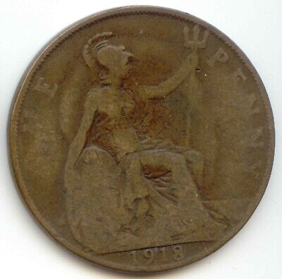 UK 1918 Bronze Penny (95% Copper) Pence Great Britain ---- EXACT COIN PICTURED