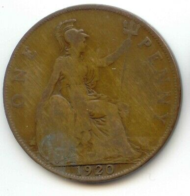 UK 1920 Bronze Penny (95% Copper) Pence Great Britain ---- EXACT COIN PICTURED