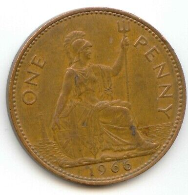 UK 1966 Bronze Penny (95.5% Copper) Pence Great Britain --- EXACT COIN SHOWN