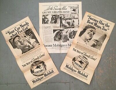 Lot Of 3 Vintage 1930s Socony MobilOil MobilGas Newpaper Advertising Inserts