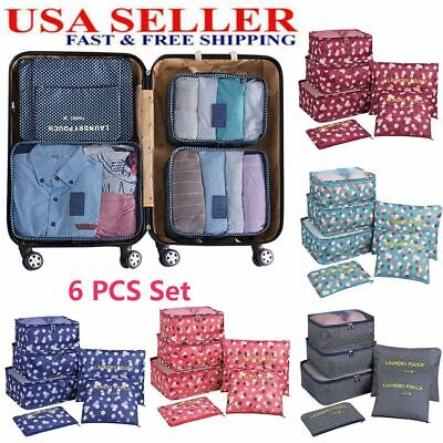 6PCS Foldable Packing Cubes Set Travel Storage Bags Suitcase Luggage Organizer