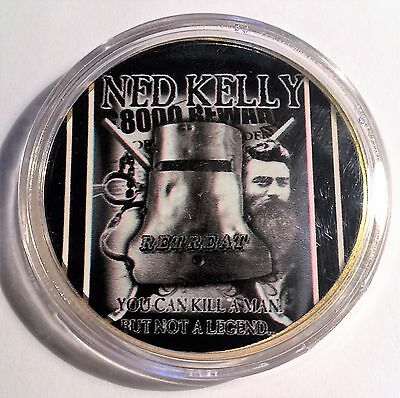 """NED KELLY"" Colour Printed 999 24k Gold plated coin, Outlaw, Reward (12)"