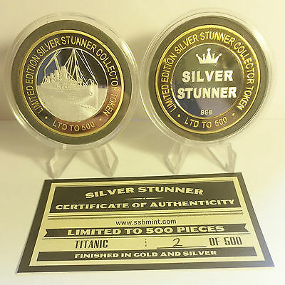 43mm TITANIC C/TOR TOKEN,COIN Silver Stunner + C.O.A. Only 500, $50 at Mint