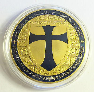 "2014 ""DARK BLUE"" TEMPLAR KNIGHT CROSS COIN Finished 999 24 k Gold"