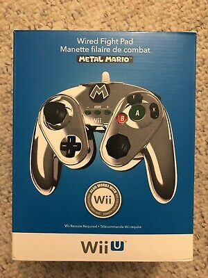 PDP Wired Fight Pad for Nintendo Wii U - Metal Mario (085-006) NEW