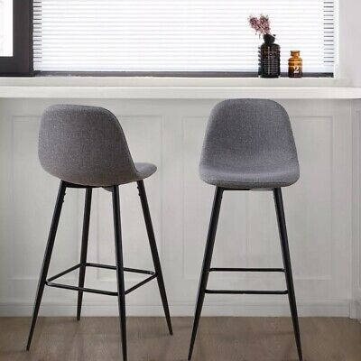 2x Grey Fabric Bar Stools Metal Leg Breakfast Pub Chair Kitchen Furniture Modern