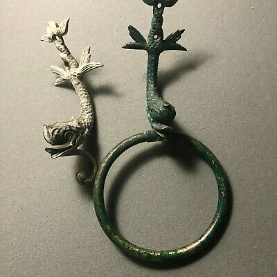 vintage  Brass Oriental Koi Dolphin figural wall hook &  wall hook with ring